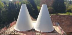 Waterproofing the conical roofs of 'The Oasts' with ALSAN 601 PU